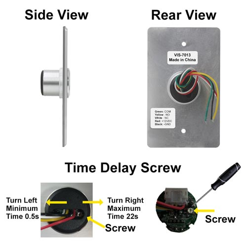 Vis 7013 Stainless Steel No Touch Request To Exit Button With Time